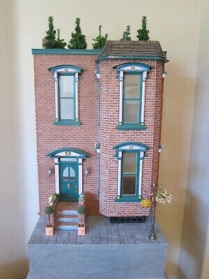 Miniature Dollhouse Vintage 1980's Two Story Brick Victorian Mansion w/basement