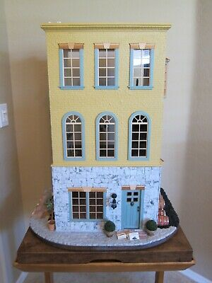 Miniature Dollhouse Vintage 1980's Three Story Victorian on Lazy Susan