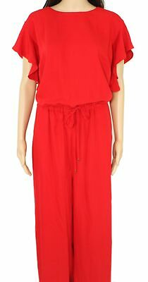Lauren By Ralph Lauren Womens Jumpsuit Red Size 14W Plus Ruffle Sleeve $255 092