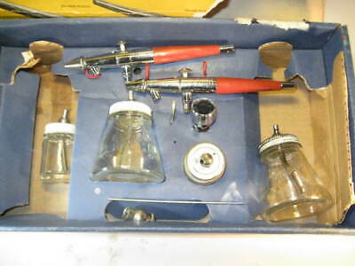 2 Vintage PAASCHE VL Dual Action AIRBRUSHES + Paasche Bottles WRENCH Cup PARTS