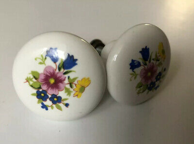 Lot Of 8 Vintage Floral Porcelain Ceramic Drawer Pulls Knob 1.5 Inch Round