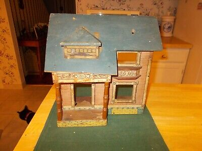 Early 1900S  R Bliss Dollhouse With Blue Roof Lithograph Paper On Outside And In