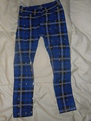 Girls Justice Blue/Black Plaid Leggings Pants  Size 10