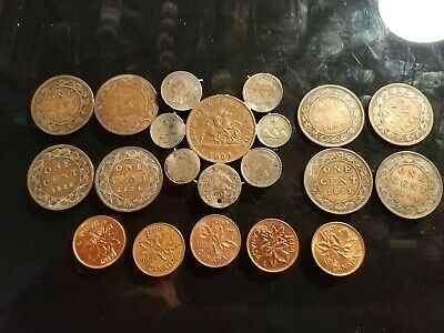 16 different very old Canada coins 1854-1899 and 5 1974 cents