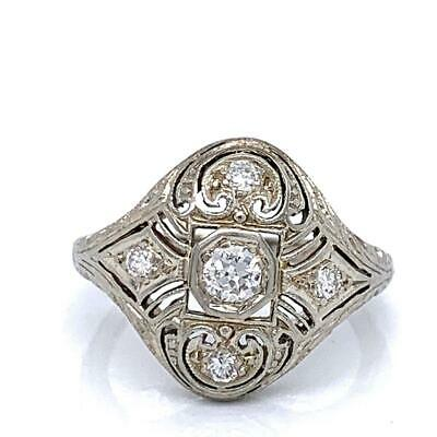 0.15 Ct Round Diamonds Victorian Style Ring In Solid 18k White Gold Size 5.5
