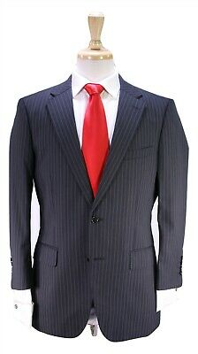 PAUL STUART Recent Charcoal Gray w/ Mint Green Pinstripe 2-Btn Wool Suit 40S