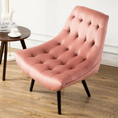 Blush Velvet Chesterfield Buttoned Tufted Leisure Sofa Winged Armchair/Footstool