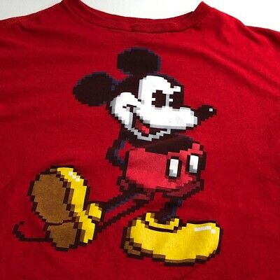 Disney Mickey Mouse Graphic T Shirt Youth Large 10 12 Red Short Sleeve Crewneck