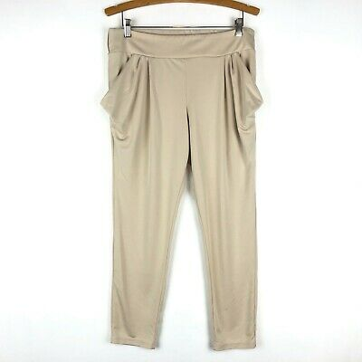 Free People Womens Medium Beige Ankle Pants Pull On Stretch Waist