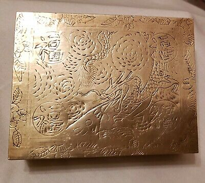 Vintage Chinese Brass Trinket Box- hand Engraved Jewelry Case