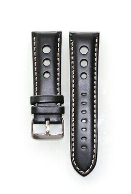 Genuine Leather Black Light Stitch Band Wrist Watch Roder Strap Perforated 24 mm