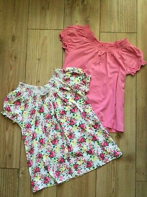 Set of 2x TU (Sainsbury's) girls' pink & floral t-shirts  (11 years), pre-owned.