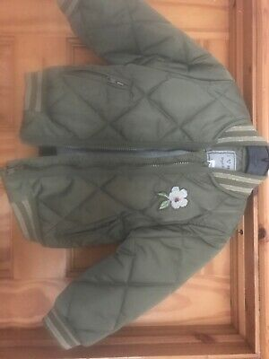 Next New Girls Coat Quilted Bomber Jacket Top Khaki Green Age 2-3 BNWT