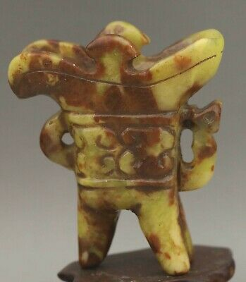 Chinese old natural jade hand-carved statue dragon cup 3 inch