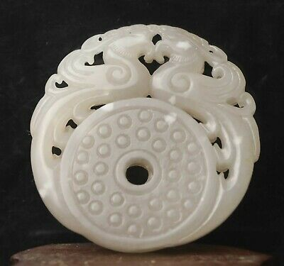 Chinese natural hetian jade hand-carved statue double dragon pendant 2 inch