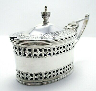 Large VICTORIAN Sterling Silver English Antique Mustard Pot Cruet Martin Hall Co