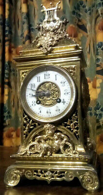 French Mantel Clock, Cast Brass, Japy Frères, 8-day striking, good working order