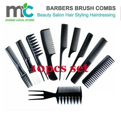 10Pcs/Set Beauty Salon Hair Styling Hairdressing Plastic Barbers Brush Combs Set