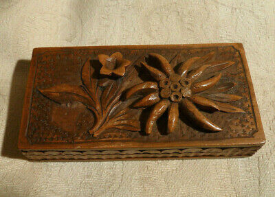 Antique Tiny Black Forest Carved Wood Stamp Box Swiss Alpine Edelweiss Desk Top