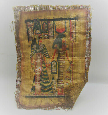 Very Rare Ancient Egyptian Papyrus And Coptic Cloth Depicting Two Rulers