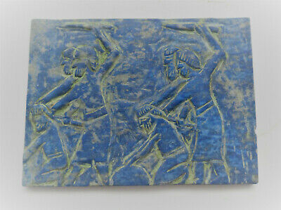 Ancient Sasanian Lapis Lazuli Carved Plaque Depicting Soliders
