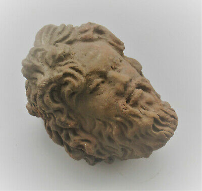 Circa 200Bce Ancient Greek Terracotta Statue Fragment Head Of Zues Rare