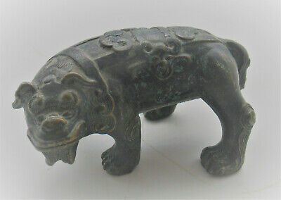 Scarce Ancient Chinese Bronze Beast Figurine Circa 400-500Ad Unusual Specimen