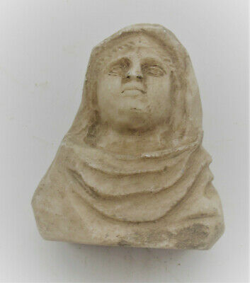 Circa 200-300Ad Ancient Roman Marble Carved Stone Bust Of A Young Lady Rare