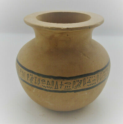 Scarce Ancient Egyptian Terracotta Storage Vessel With Heiroglyphics