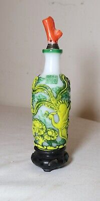 antique Chinese Qianlong peking glass coral figural snuff trinket bottle jar