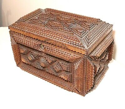 19th century antique handmade carved wood Tramp Art cigar box casket trunk 1800s