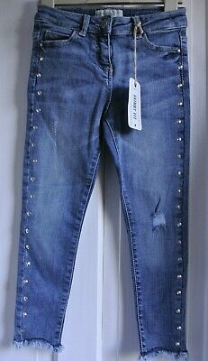 New Next  girls studded Jeans Distressed look Blue age 7 years Skinny fit