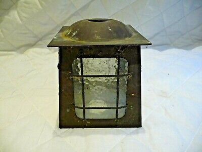 Vintage Arts And Crafts Copper Porch Hall Lantern Light Pendent Shade With Glass