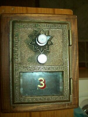 Vintage Post Office Box Combo Lock Brass Door Bank 1967