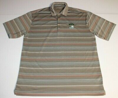 Mens Nike Fit Dry 2008 US Open Torrey Pines Golf Polo Shirt Large Beige Striped