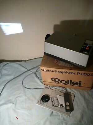 Rollei P350A Slide Projector All Works Nicely In Box With Remote And Two Globes