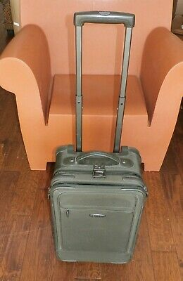 "Dakota Tumi 20"" Dark Green Ballistic Nylon Carry On Suitcase Rolling Wheels"