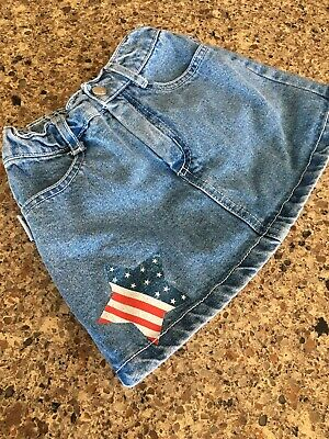 Girls Youth Vintage Guess USA Mini Jean Skirt 4T Flag Red White Blue