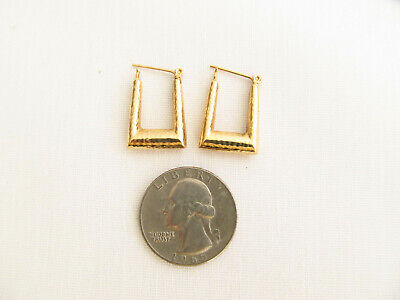 14K Solid Yellow Gold Earrings Tubular Hammered Leverback