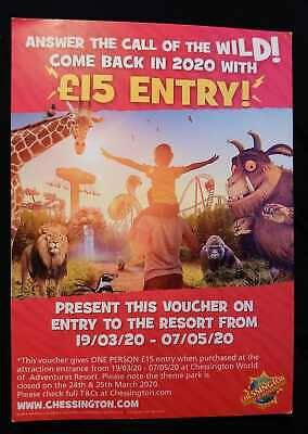 Chessington world of adventures ticket voucher entry for £15 merlin entry ticket