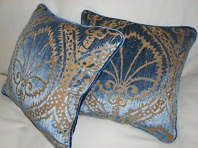 Fadini Borghi Throw pillows cut Velvet fabric SFORZA Blue Gold colors new PAIR