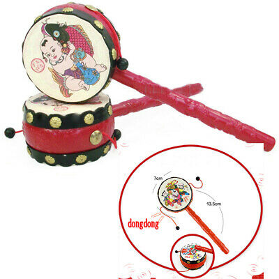 Gift Colourful Musical Instrument Toy Rattle Drum Chinese Traditional Hand Bell
