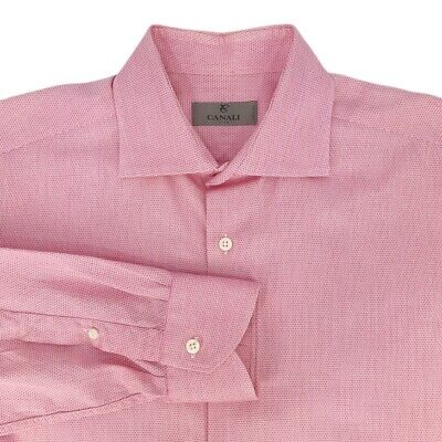 Canali Mens Dress Shirt 41 / 16 Pink Cotton Button Front Long Sleeve Italy