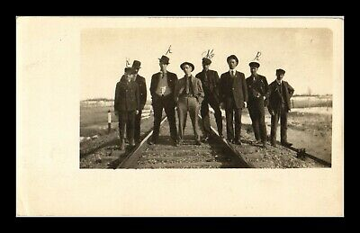 Us Postcard Group Of Men Standing On Railroad Tracks Rppc