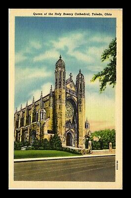 Us Linen Postcard Queen Of The Holy Rosary Cathedral Toledo Ohio