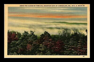 Us Linen Postcard Above The Clouds Town Hill Mountain Near Cumberland Maryland