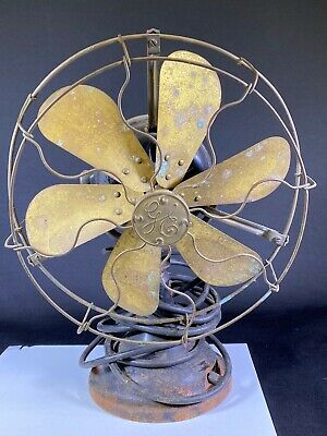 "Antique General Electric GE 6 Brass Blade Electric 12"" Fan No. 753113"