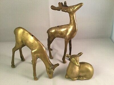 Vintage Brass Deer Figurines / Statues Buck, Doe &  Fawn Set of 3 Mid Century