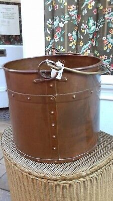 Arts And Crafts Copper Coal/log Bucket With Brass Handle