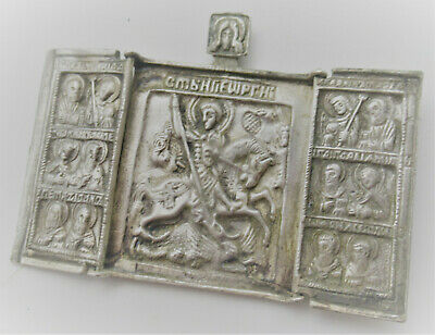 Beautiful Late Medieval Silvered Religious Plaque Pendant Closeable 16Th Century